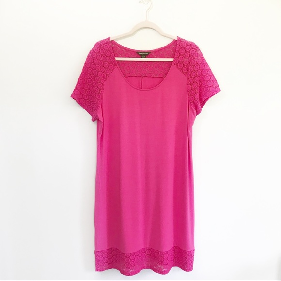Tommy Bahama Dresses & Skirts - Tommy Bahama Hot Pink Midi Eyelet Trim Tee Dress